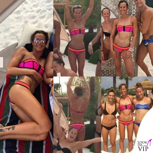 Federica Pellegrini, bikini fluo pre Olimpiadi